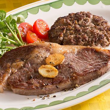 家バル「熟成肉ステーキとハンバーグ&レバーパテセット」